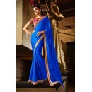 Ethnic Wear Satin Blue Saree - 363