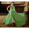 Party Wear Chiffon Rainbow Foil Green Saree - 366