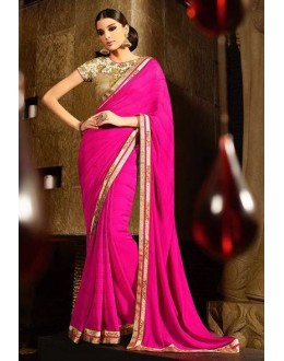 Party Wear Georgette Jacquard Pink Saree - 371