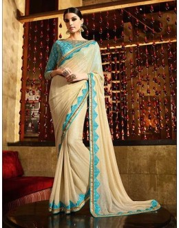 Party Wear Georgette Rainbow Foil Cream Saree - 370