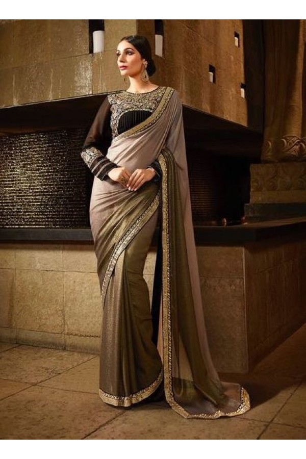 Party Wear Shimmer Georgette Beige Saree - 369