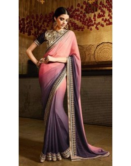 Wedding Wear Georgette Jacquard Pink Saree - 368