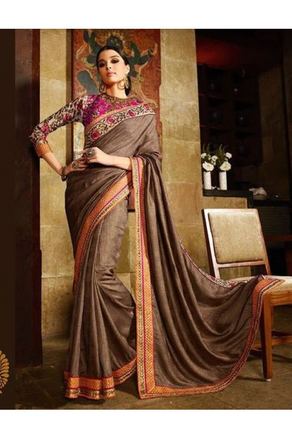 Wedding Wear Silk Shimmer Jacquard Brown Saree - 367