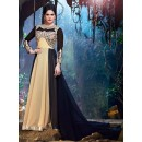 Semi Georgette Cream & Black Anarkali Suit - 24002
