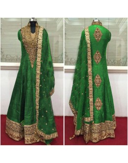Bollywood Inspired - Wedding Wear Green Raw Silk Anarkali Suit - 9028G