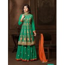 Festival Wear Green Lehenga Style Anarkali Suit  - 12005