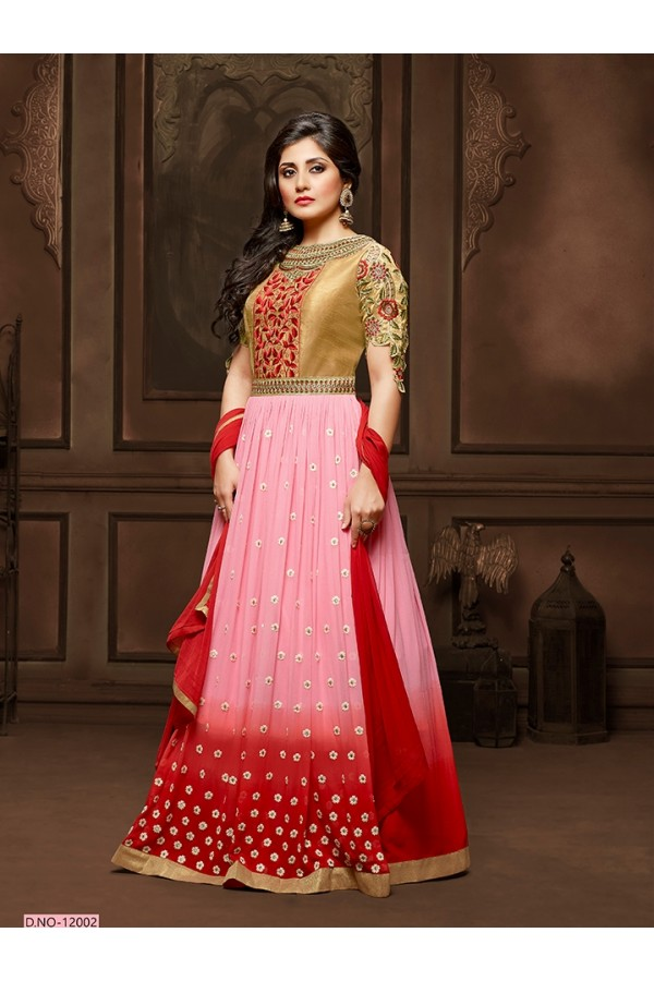 Festival Wear Pink Anarkali Suit  - 12002