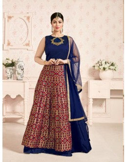 Festival Wear Blue & Red Anarkali Suit  - 201