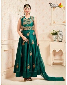 Festival Wear Green Taffeta Silk Anarkali Suit  - 203