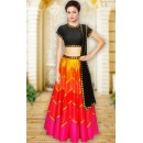 Navratri Special Black & Red Silk Lehenga Choli - WA0236