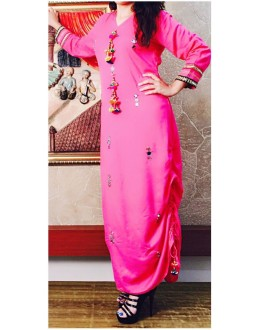 Festival Wear Readymade Pink Cotton Kurti - WA0093