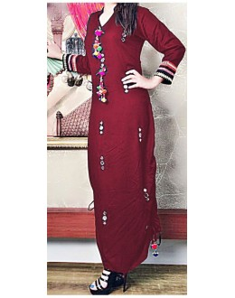 Party Wear Readymade Maroon Cotton Kurti - WA0095
