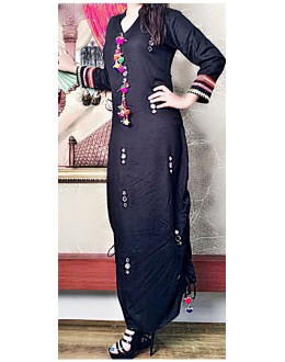 Ethnic Wear Readymade Black Cotton Kurti - WA0096