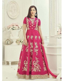 Party Wear Pink Two Tone Silk Anarkali Suit - 18013