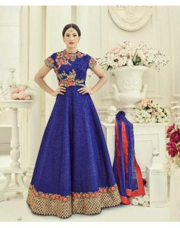 Party Wear Blue Silk Embroidery Anarkali Suit - 18014