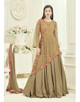 Ethnic Wear Beige Net Anarkali Suit - 18015