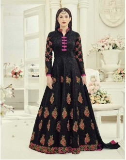 Festival Wear Black Banglori Silk Anarkali Suit - 18018