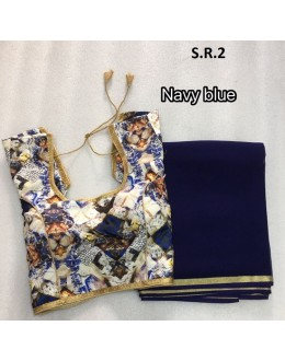 Traditional Navy Blue Saree With Fully Stitched Blouse - S.R.2