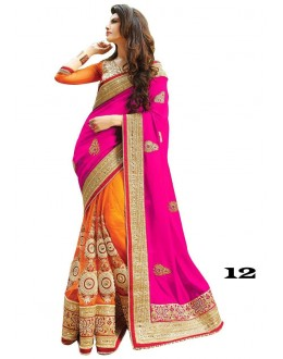Party Wear Magenta & Orange Georgette Saree  - 12