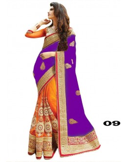 Ethnic Wear Purple & Orange Georgette Saree  - 09