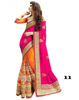 Festival Wear Pink & Orange Georgette Saree  - 11