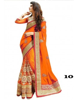 Wedding Wear Orange Georgette Embroidery Saree  - 10