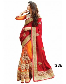 Ethnic Wear Red & Orange Georgette Saree  - 13