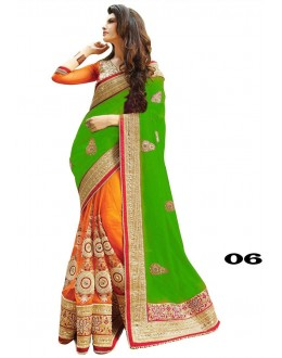 Ethnic Wear Green & Orange Georgette Saree  - 06