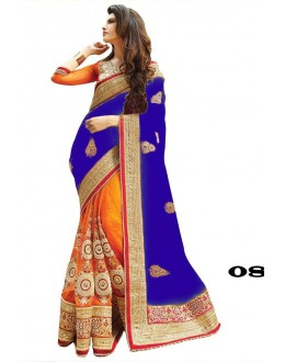Designer Blue & Orange Georgette Embroidery Saree  - 08
