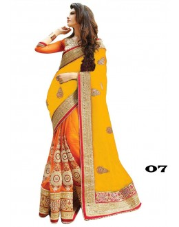 Designer Yellow & Orange Georgette Embroidery Saree  - 07