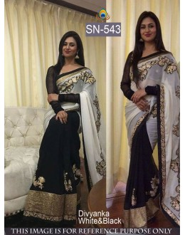 Bollywood Replica - Divyanka Triphati In Designer Black & White Saree - SN-543