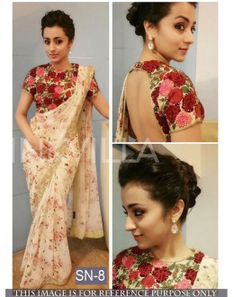Bollywood Replica - Party Wear Cream Printed Georgette Saree - SN-8