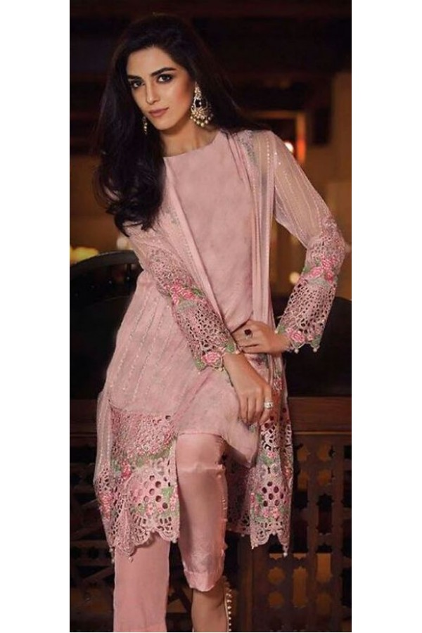 Party Wear Light Pink Georgette Salwar Suit - 6003