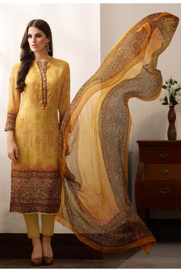 Party Wear Yellow Georgette Salwar Suit - 962-07