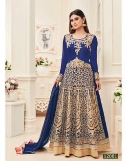 Mouni Roy In Blue Banarasi Silk Anarkali Suit  - 12081