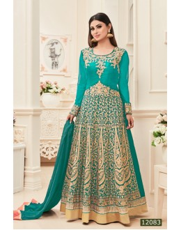 Mouni Roy In Sea Green Banarasi Silk Anarkali Suit  - 12083