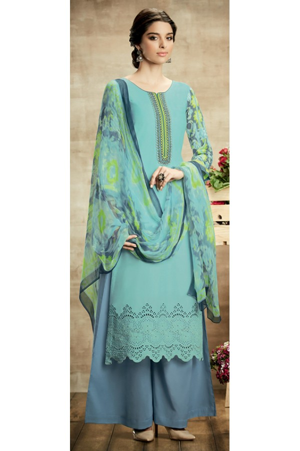 Party Wear Blue & Grey Cotton Palazzo Suit - 110
