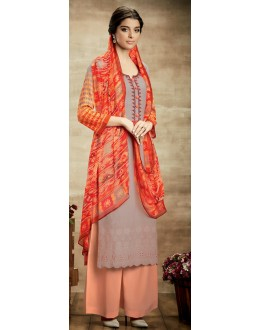 Party Wear Light Grey & Peach Palazzo Suit - 111