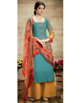 Party Wear Multicolour Cotton Palazzo Suit - 104