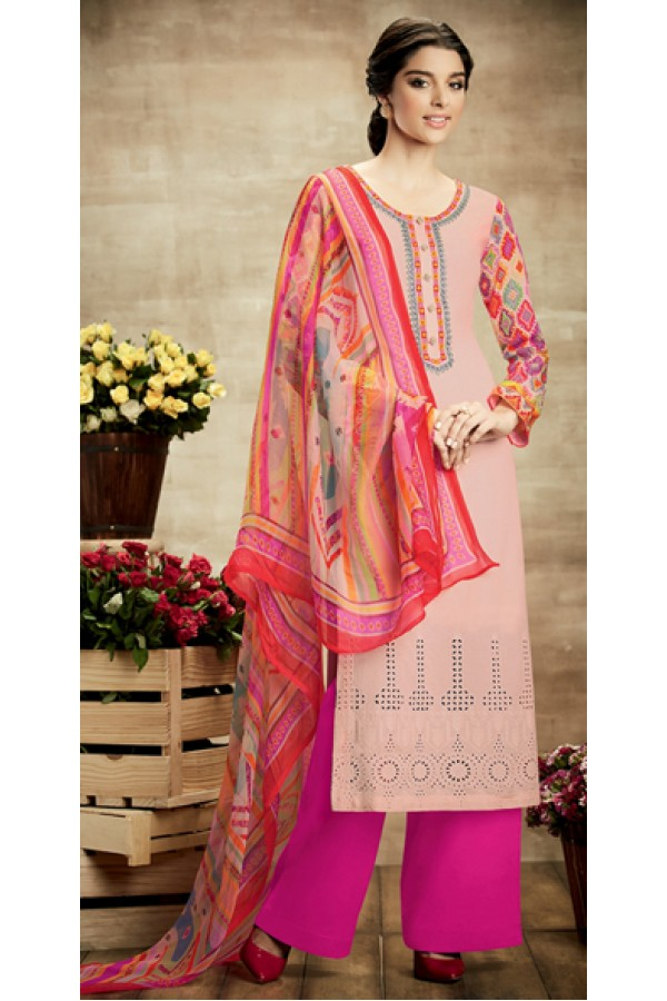 Casual Wear Multicolour Cotton Palazzo Suit - 106