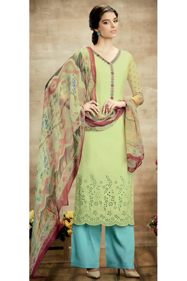 Casual Wear Green & Turquoise Blue Palazzo Suit - 108