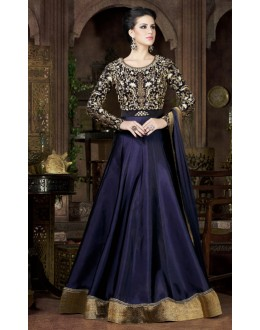 Fesrival Wear Blue & Black Tapeta Silk Gown - 4802-C