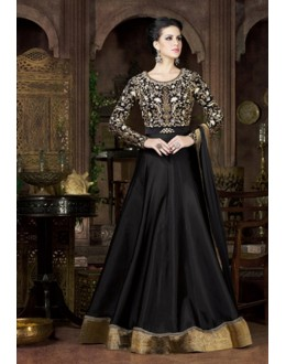 Designer Black Tapeta Silk Embroidered Gown - 4802-D