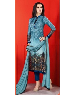 Ethnic Wear Sky Blue Satin Salwar Suit  - 1403