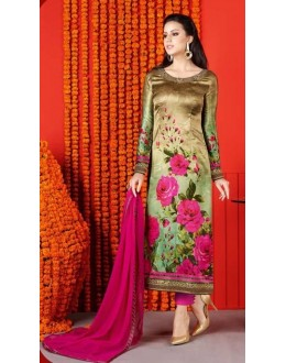 Festival Wear Multi-Colour Satin Salwar Suit  - 1401