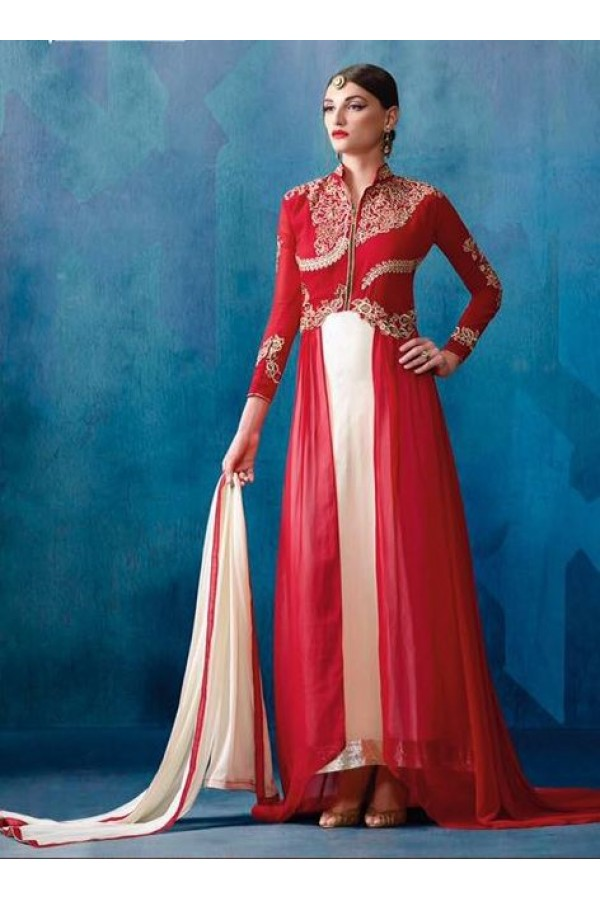Ethnic Wear Red & White Georgette Anarkali Suit - 204
