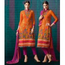 Ethnic Wear Orange & Pink Georgette Salwar Suit - 208