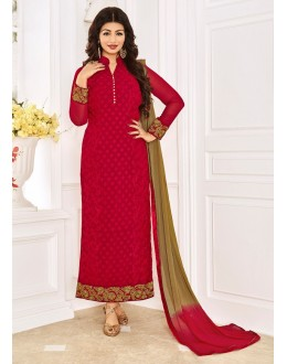 Ayesha Takia In Red Georgette Salwar Suit - 1147