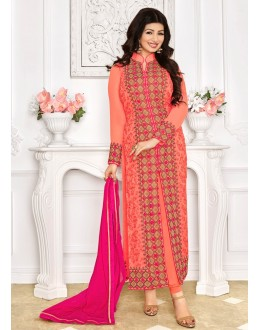 Ayesha Takia In Peach Georgette Salwar Suit - 1150