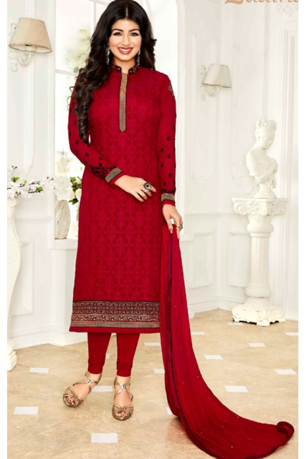 Ayesha Takia In Red Georgette Salwar Suit  - 1140